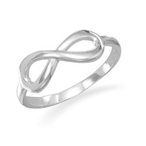 Polished Infinity Ring Silvertone Size 6