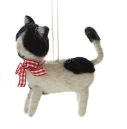 On Holiday Felted Wool Black and White Kitten Christmas Tree Ornament