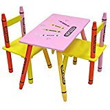 Bebe Style Premium Toddler Furniture Wooden Kids Chair and Table Set Crayon Theme Easy Assembly