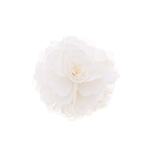 Douqu High Heel Chiffon Ribbon Rose Flower Fashion Sandals Shoe Clips Charms Decoration Pair (White)