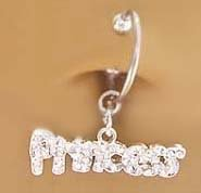 (Fake Belly Navel Non Clip on Piercing Cz paved Princess word Dangle Ring)