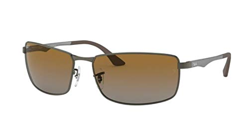 Ray-Ban RB3498 029/T5 64M Matte Gunmetal/Grey Brown Gradient Polarized Sunglasses For Men