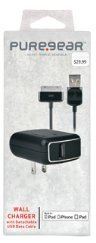 iPhone 4,4S - iPad 2,3 Wall Charger with Detachable USB Data Cable - Retail Packaged