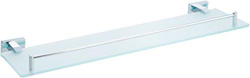 AmazonBasics Euro Glass Vanity Shelf - Polished Chrome, (Chrome Bathroom Glass Shelf)