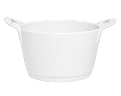 Pillivuyt France, TOULOUSE COLLECTION, White Porcelain Legumier (Vegetable Dish/Baker), with Handles, 6.25
