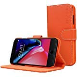 Snugg Legacy Leather Card Slot Flip Wallet Case for Apple iPhone 7 Plus - Orange