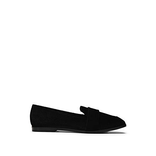 Kenneth Cole REACTION Women's Glide Slide Menswear Inspired Loafer with Square Toe Velvet Upper Slip, Black, 7.5 M US