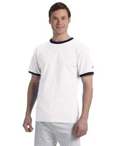 Champion Men's Tagless Short-Sleeve Ringer T-Shirt, white/navy, XX-Large