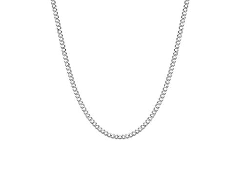 Silver Pave Curb Chain - Pori Jewelers 925 Sterling Silver Cuban/Curb Pave Chain Necklace - 3mm - 12mm (20, 3.5mm)