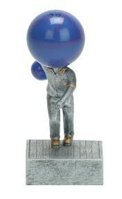 Decade Awards Bowling Ball Bobblehead Trophy - Bowler Bobblehead Award - 5.5 Inch Tall - Engraved Plate on -