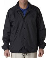 Lined V-neck Jersey - UltraClub mens Nylon Coaches' Jacket(8944)-BLACK-XL