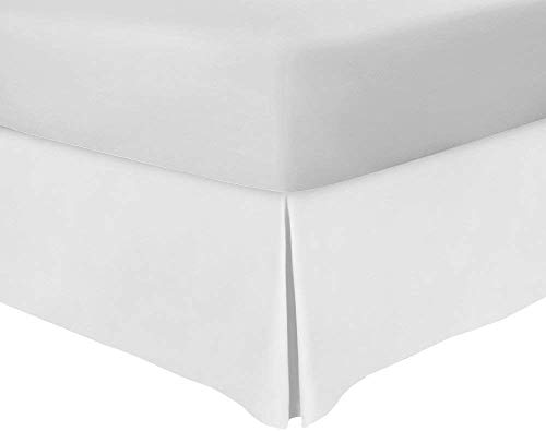 (White Bedskirt Queen 18 Inch Drop 650 Thread Count Quality Tailored Poplin Split Corner Bedskirt 100% Natural Cotton Wash & Iron Easy Quadruple Pleated Wrinkle & Fade Resistance Bed Skirt)
