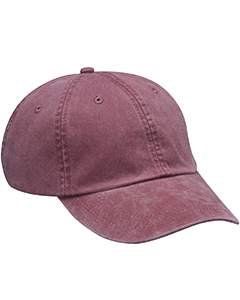 Adams Cap 6-Panel Low-Profile Washed Pigment-Dyed Baseball Cap AD969 red One Size (Pigment Mens)