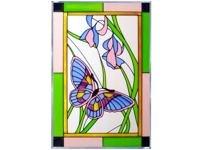 Butterfly Plum Green Border (Contemporary) Vertical Art Glass Panel Wall Hanging Suncatcher 20 x 14