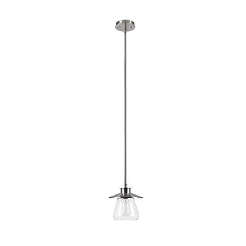 - Globe Electric Nate 1-Light Pendant, Brushed Steel, Clear Glass Shade 60465