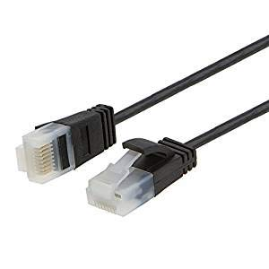 Ultra Thin Cat6a Ethernet Cable, CableCreation 2-Pack UTP 10 Gigabit 500MHz Ethernet Patch Cable, Ultra Slim High Speed RJ45 LAN Network Cable for Modem, Router, Computer, 6.6ft, 2m, Black (500 Cable Patch Mhz)