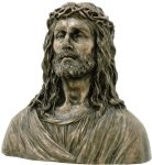 16.88 Inch Crowned Jesus with Thorns Cold Cast Bronze Bust Figurine