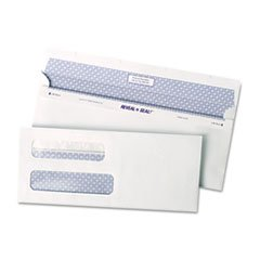Reveal-N-Seal Double Window Check Envelope, Self-Adhesive, White, 500/