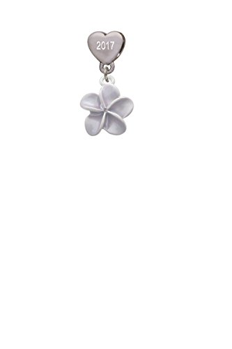 Purple Plumeria Flower Custom Year Stainless Steel Heart Bead Charm