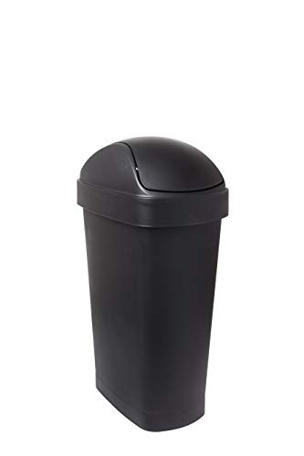 - Umbra Flippa 8 Gallon Large Rectangular Kitchen Trash Can with Swing-Top Lid for Indoor, Outdoor or Commercial Use, 30L, Black