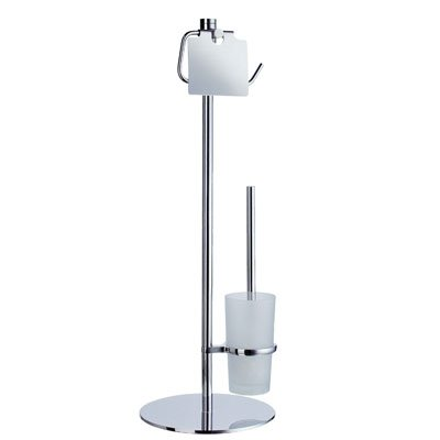 outline freistehender toilettenpapierhalter mit deckel und wc brste mit milchglas chrom poliert fk302 - Freistehender Toilettenpapierhalter Chrom