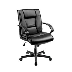 Brenton Studio(R) Ruzzi Mid-Back Vinyl Chair, 38-41 3/4in.H x 24 1/2in.W x 27 1/6in.D, Black by Brenton Studio