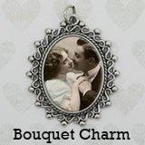 (Bridal Wedding Bouquet Photo Charm Vintage Look Silver Picture Frame Bouquet Photo Charm)
