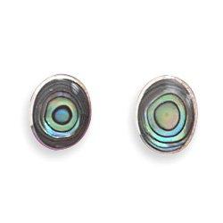 d98ae1b8e Oval Abalone Shell Stud Earrings 925 Sterling Silver: Amazon.co.uk:  Jewellery