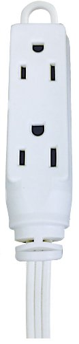 Voltec Industries 01-00013 8-Feet Triple Outlet Household Extension Cord, White