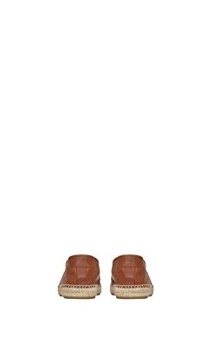 Saint Laurent Hommes 5096160as009808 Espadrilles En Cuir Marron