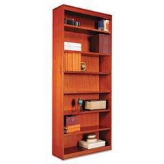 (- Square Corner Wood Bookcase, Seven-Shelf, 35-5/8 x 11-3/4 x 84, Medium Cherry)
