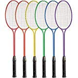 - Champion Sports Tempered Steel Twin Shaft Badminton Rackets with Steel Coated Strings Set of 6