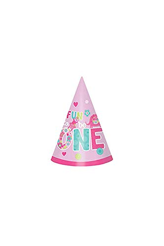 amscan One Wild Girl 1st Birthday Party Cone Hats, 6