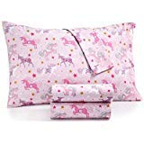 Kids Zone Ornate Pink Unicorn Sheets with Gold and White Star Print Purple and Magenta on Light Pink (Twin) by Kids Zone