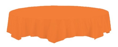 Creative Converting Touch of Color Octy-Round Paper Table Cover, 82-Inch, Sun Kissed Orange