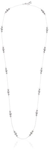 - Chaps Women's 32Inch Metal Bead Illusion Strand Necklace, Silver