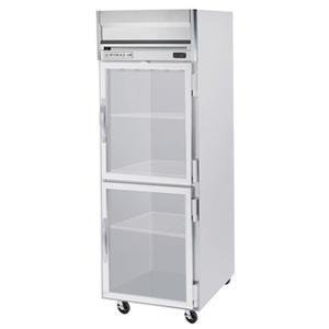 Beverage-Air HF1-1HG 26'' Horizon Series One Section Glass Half Door Reach-In Freezer 24 cu.ft. capacity Stainless Steel Front Gray Painted Sides Aluminum