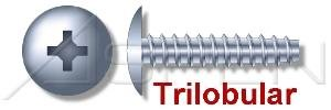 (60000PC) #8 X 1/2', Trilobular Thread-Rolling Screws, Truss Phillips Drive, 48-2 Threading, Full Thread, Steel, Zinc Plated and Waxed Ships FREE in USA by Aspen Fasteners