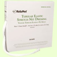 ReliaMed Non-Sterile Latex Tubular Elastic Stretch Net Dressing for Hands, Arms, Legs and Feet, Medium 5'' - 6'' x 25 yds