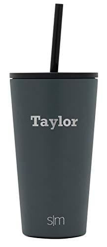 Simple Modern Personalized Gift Tumbler Custom, Classic 16oz - Straw & Flip Lid, Graphite