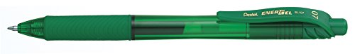 Pentel EnerGel-X Retractable Liquid Gel Pen 0.7mm Metal Tip Green Ink, Box of 12 (BL107-D) (Pen Plastic Pentel)