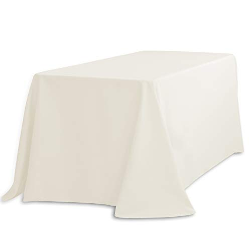 LinenTablecloth LTC-90132-010105 90 X 132 In. Rectangular Polyester Tablecloth Ivory 90 X 132 In. Rectangular Polyester Tablecloth Ivory]()