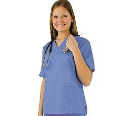 Women's Scrub Set - Medical Scrub Top and Pant, Ceil Blue, ()