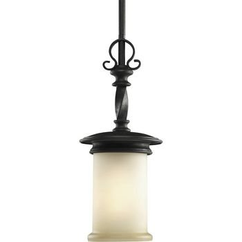 076-80 1-Light Mini-Pendant with Jasmine Mist Glass Enhanced By Subtle Forged Iron Twists, Forged Black ()