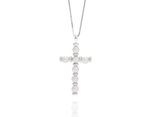- AZIEL JEWELRY Excellent Quality Fresh Water Pearl Gemstones Cross Design Pendant Necklace with 925 Sterling Silver and Cubic Zironia Custom Made for Women and All Fashion Wear