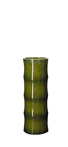 Jarrón cilíndrico bambú oliva