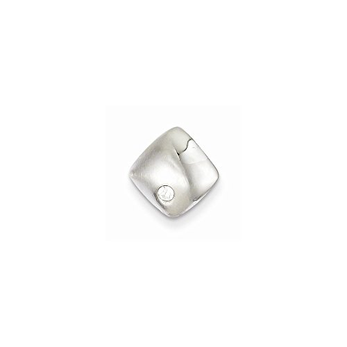 Sterling Silver CZ Square Slide Pendants & Charms Jewelry