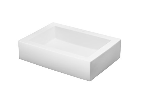 - RONBOW Format 22 Inch Above Counter Ceramic Bathroom Vanity Vessel Sink in White 200036-WH