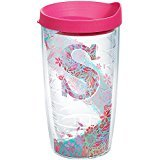 Tervis 1240160 INITIAL-S Botanical Insulated Tumbler with Wrap and Fuschia Lid, 16oz, Clear (Personalized Tervis Tumblers)