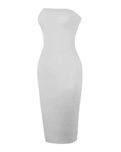in Print Strapless Dress Mode Grey Tube Bodycon Solid Midi Instar Idrw019 Women's Sexy Heather TqvC88wg
